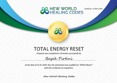 New World Healing Codes certificate Başak Pirtini