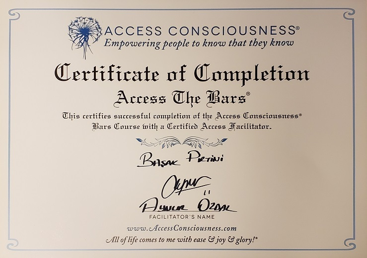 Access bars certificate Başak Pirtini